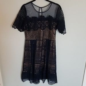 Anthropologie Navy Lace Dress Size Large